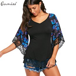 Wholesale Lace Butterfly Sleeve Top - Gamiss Butterfly Raglan Sleeve Women T-Shirt With Lace Trim Spring Autumn Three Quarter Ladies Shirts V-Neck Female Tops Tees
