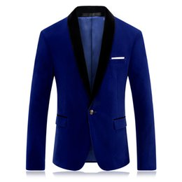 Wholesale Clothes For Prom - Royal Blue Prom Blazer for Men Fashion Brand Stage Clothing for Singers Slim Fit Mens Red Velvet Blazer Jacket