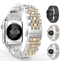 Wholesale black metal gear - For Samsung Gear S3 Stainless Steel Band 2017 New Luxury Replacement Metal Watchband Wrist Strap for Apple Watch 7Beads Link Connect