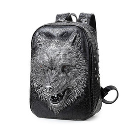 laptop american girl Promo Codes - Wholesale- 2017 new stylish backpacks 3D wolf head backpack special cool shoulder bags for teenage girls PU leather laptop school bags