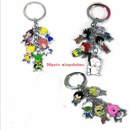 Wholesale Dragon Ball Cell - 10 Pcs lot Anime Cartoon Dragon Ball Z Son Goku Vegeta Cell Figure Dragon Ball Phone Keychains Pendants jewelry accessories