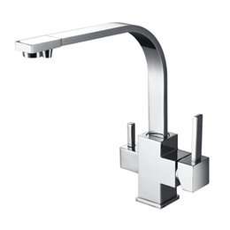 Wholesale Single Square Kitchen Faucet - Wholesale- New Wholesale Factory Direct Price 360 Degree Swivel Square Style Tri Flow Sink Faucet Ro Water Filtered 3 Way Kitchen Tap