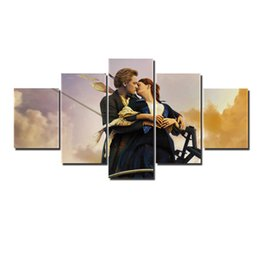 Wholesale Hd Movie Pictures - Home Decoration Canvas Painting 5 Pcs Set Movie Titanic Poster Picture HD Print Wall Poster Painting Romantic Gift For Lover No Frame