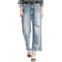 f56d9ce732 pantalones vaqueros anchos Rebajas MOBTRS Pantalones vaqueros nuevos para  las mujeres flojo agujero ocasional rebabas Jeans