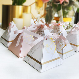 Wholesale Graduation Schools - 50pcs New Creative Triangular Pyramid Marble style Candy Box Wedding Favors Party Supplies thanks Gift Chocolate Box