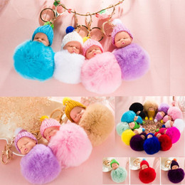 ball chain keychains Promo Codes - 10pcs Free Shipping 8CM Wholesale 12 Colors Genuine Rabbit Fur ball sleeping baby Plush Key Chains Car Keychain Bag Pendant Fashion Accessor
