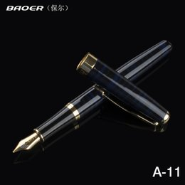 fountain pens baoer 388 Promo Codes - 1 Pcs Baoer 388 Blue and Gold Metal Clip Fountain Pen 0.5mm Luxury Ink Pens for Office Writing School supplies