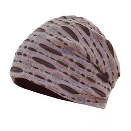 Chapeaux de crâne en Ligne-AUZE Hommes / Femmes En Coton Élégant Doux Creux Beanie Cap Printemps Couleur Unie Coton Chemo Cap Bonnet Slouchy Skull Hat