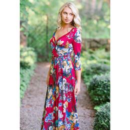 c24ff86e6 20187 Brand New 2018 Autumn Winter Dress Ropa de mujer Nuevo estilo  Bohemian Beach Dresss Sexy con cuello en V Lace Up Floral vestido largo  impreso