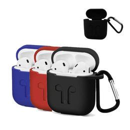 Wholesale anti dust earphone - Soft Case Cover For Apple Airpods Silicone Cover Protector with Dust Plug Anti-Lost Strap Pouch for Air pods Earphones Safty