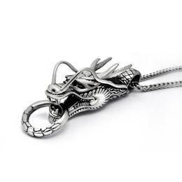 Tierkreis stahl anhänger online-Mode Punk Style Zodiac Dragon Anhänger Halskette für Edelstahl Anhänger