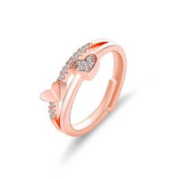 941cc435a828 2019 hand ring opening Elegante Corazón de Circón Cristal Ajustable Anillo  Doble Estilo de Apertura Decoración