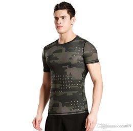 Wholesale Medias de manga corta ropa de fitness deportes de los hombres ropa de camuflaje sudor en el sudor ropa seca baloncesto corriendo T