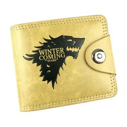 Wholesale Money Coins Games - Hot Sell Game of Thrones Anime Khaki Wallet PU Leather With Wolf head Short Folding Purse Card Holder of Button Money Bag