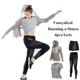 Wholesale Yellow Tracksuit For Women - Vansydical Sport Suit Women Fitness Yoga Set Striped Tracksuit for Women Running Tights Gym Jogging Yoga Clothes Sportswear