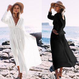 New Deep v Long Beach Dress Lace bikini in cotone con spallamento Cover Up Abiti da donna Swimwear Wrap UP Colore nero bianco da