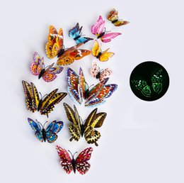 Wholesale country gifts home decor - custom sticker pack for kid room 12pcs 3D wall art sticker Butterfly Decal Wall Sticker Home Decor Room Decoration free shipping
