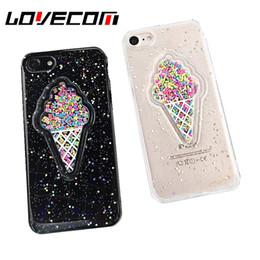 Iphone 3d gelato online-YunRT Lovely 3D Summer Ice Cream Cassa del telefono per iPhone 6 6S 7 8 Plus X brillantini glitter polvere TPU morbida copertina posteriore regalo