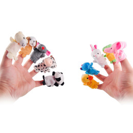 Wholesale Group Children - 10 pcs lot,Christmas Baby Plush Toy  Finger Puppets Tell Story Props(10 animal group) Animal Doll  Kids Toys  Children Gift fing