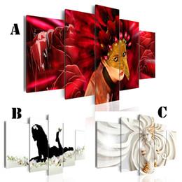 Ragazza di fiore della pittura a olio online-Immagine di arte della parete Pittura a olio stampata su tela No Frame 5pcs / set Home Decor Extra Bordo a specchio Flower Girl Mark