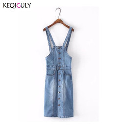 1a385db5f6a Spring 2018 Long Sunspender Dress Single Breasted Casual Jeans Sundresses  Robe Femme Denim Dresses Women Dress Y2845