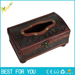 Wholesale Wooden Craft Boxes - 1pc Tissue Box Elegant Crafted Wooden Antique Handmade Old Antique Paper Box Packing Holder 21*12*11cm