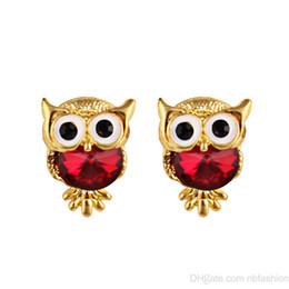 Wholesale owl ornaments - Cross Border European Personality Fashion Owl Crystal Earrings Crystal Ornaments ( Four Color Optional )