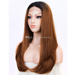 Wholesale Two Tone Synthetic Lace Wig - Synthetic Ombre Hair Long Silky Straight Lace Front Wig #1B 30# Two Tone Color Middle Part Ombre Straight Wig In Stock