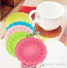 Wholesale Lace Cup Holders - Silicone Multi-Use Flower Trivet Mat Lace Doily Coaster Colourful Silicone Cup Drinks Holder Mat Different Color