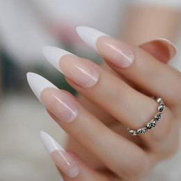 long french nails Promo Codes - Extra Long Sharp Nail Classic White Stiletto French False Nails Tips Stilettos Sharp Beige Orange Pink Salon Acrylic Nail Art