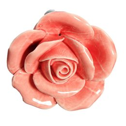 Wholesale Flower Ceramic Knobs - 1pcs Vintage Rose Flower Ceramic Door Knobs Handle Drawer Pink