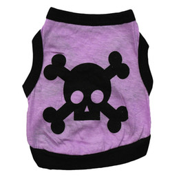 Wholesale female skull shirts - 4 Colors Pet Dog Clothes Sports Cotton Skull and Crossbones Janpanese Vest Clothing Spring Apparel For Small Cat Middle Puppy Chihuahua XS-L