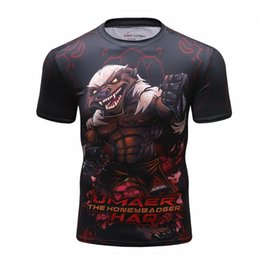black compression t shirts wholesale Coupons - Men's Compression Shirt Rashguard Short Sleeve 3D Print Jiu Jitsu T shirts MMA Fitness Male Quick Dry Bodybuilding Crossfit Tops