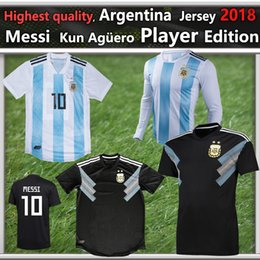 Wholesale White Fans - Argentina Jersey 2018 MESSI AGUERO DYBALA HIGUAIN ICARDI DI MARIA Football Shirts Kit Fans Player Version Home Away Men`s Kids Women Jerseys