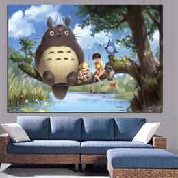 Wholesale Movie Canvas Art - Print Anime Movie Art Hayao Miyazaki Totoro Neighbor on Canvas Poster Modern Cartoon Wall Picture for Living Room Cuadros Decor