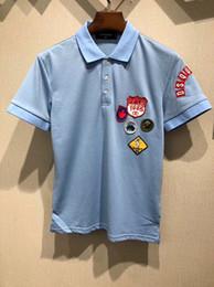 Wholesale Korean Polo Shirts - polo shirt for men animal embroidery Korean Full Cotton Self-cultivation Short Sleeve Man Stripe POLO Unlined Upper Garment fashion 2018