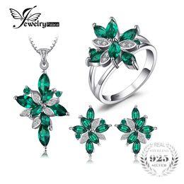 set verde smeraldo della collana Sconti Gioielli Mystic Green creato gioielli smeraldo Set 925 Sterling Silver Ring Collana pendente orecchino clip da sposa Set da sposa