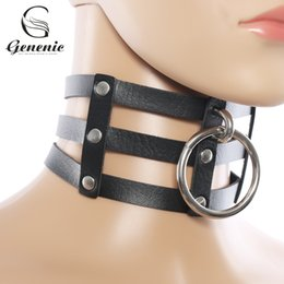 Wholesale Punk Buckle Choker - whole sale1 Piece Punk Gothic Rivets Choker Three Row Caged Leather Choker Buckle Collar Necklace for Women Cool Nice Gift