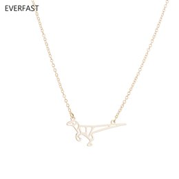 Wholesale lizard necklace jewelry - Everfast New Fashion Lizard Pendant Necklaces Blessed Origami Dinosaur Collar Necklace Anime 3 Colors Scientist jewelry Bijoux femme EN236