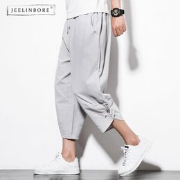 Китай новая вышивка онлайн-JEELINBORE Summer New Fashion Haren Man's Casual China Style Pants Male Embroidery Bloomers Loose Streetwear Pantalon Hombre