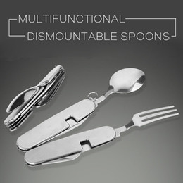 Wholesale spoon stainless steel folding - 4 in 1 Multifunction Dismountable Folding Knife Spoon Fork Bottle Opener Stainless Steel Tableware For Camping NNA373