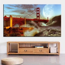 Wholesale gates oil - Large size Printing Oil Painting golden gate bridge storm Wall painting Decor Wall Art Picture For Living Room painting No Frame