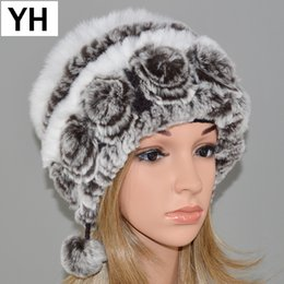 New Fashion Women Real Rex Rabbit Fur Hat Lady Winter Knitting 100% Natural  Warm Soft Real Rex Rabbit Fur Cap Wholesale Retail S1020 c0a60debef5a