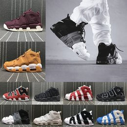 Wholesale Box Boy - [With Box] Air more Uptempo Shoes Red Black Gold Boys Basketball Shoes For 3M Fashion Casual Sneakers Scottie Pippen Sports Sneakers US8-13