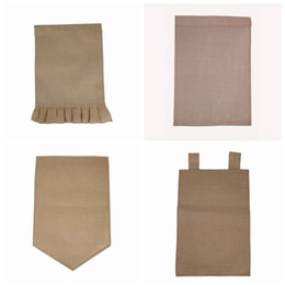 Wholesale Wholesale Easter Decorations - DIY Burlap Garden Flag Jute Ruffles Yard Hanging Flag Portable Blank Banner Easter Garden Decorations 4 Designs YW314