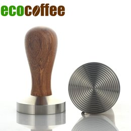 Wholesale Tamper Barista - Ecocoffee New Wooden Handle Convex Coffee Tamper 58MM 307 stainless steel Powder Hammer Barista Tool
