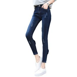 d6825c07bbe New women s high-waist stretch slim jeans worn zipper bow denim pencil pants  fashion casual ankle length jeans summer autumn. Supplier  duixinju