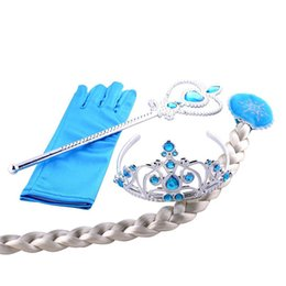 Wholesale Dress Ups Kids - cosplay Headwear 4pcs set Crown Wig Wand Gloves Party Dress Up costume for kids Princess christmas Party Accessories OTH632