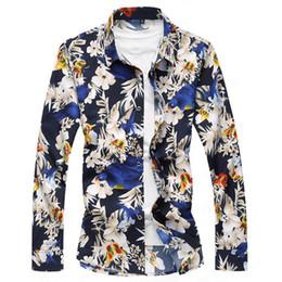 Ropa casual de oficina hombres online-7XL Flores Imprimir Camisa de Gran Tamaño Retro Blusa Hombre Cena Fiesta Blusas Hombre de Negocios Ropa Informal Camisas de Oficina Tide Boy Tops Nuevo