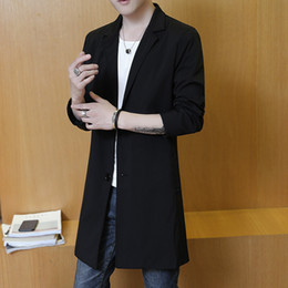 Wholesale Mens Black Trench Coat Long - Spring and autumn thin men long jacket Slim trench coat male solid blazers collar two buckle black mens overcoat size M-3XL